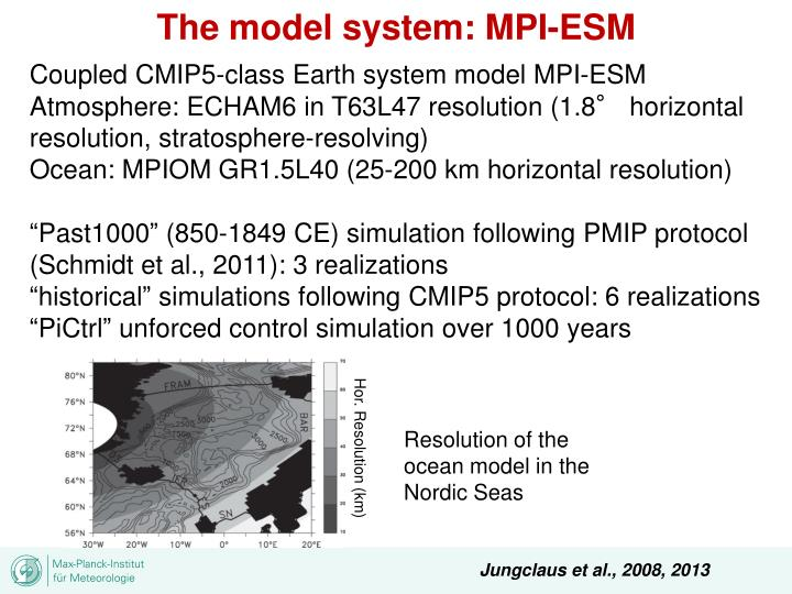 The model system: MPI-ESM