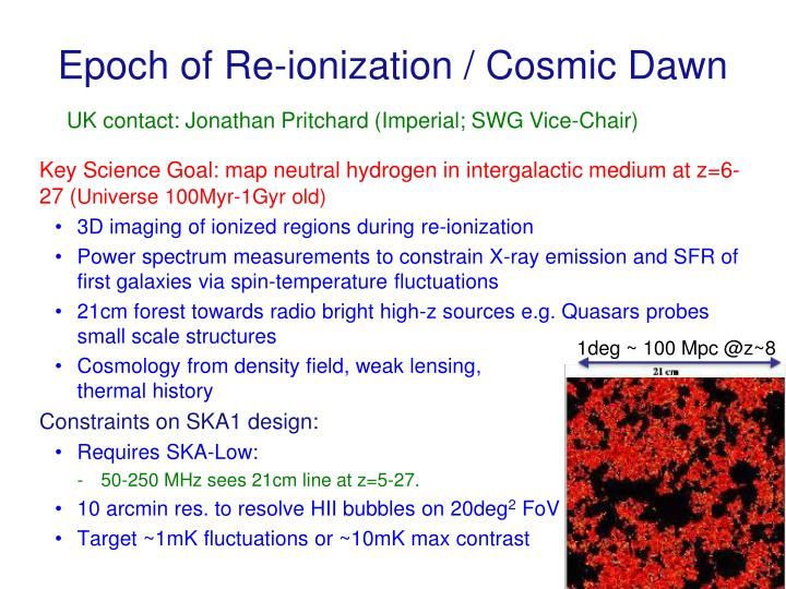 Epoch of Re-ionization / Cosmic Dawn