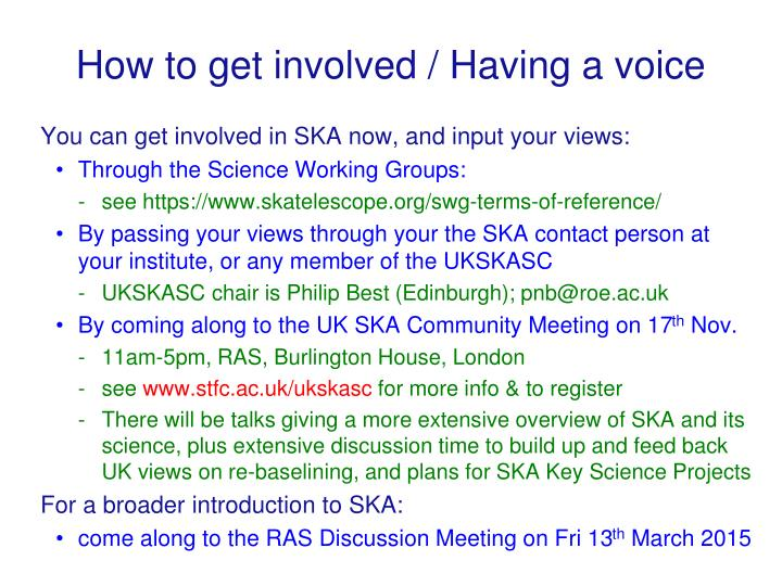 How to get involved / Having a voice