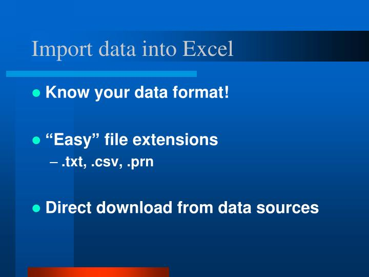 Import data into excel