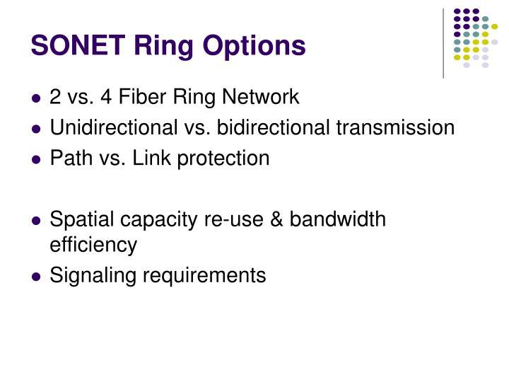 SONET Ring Options