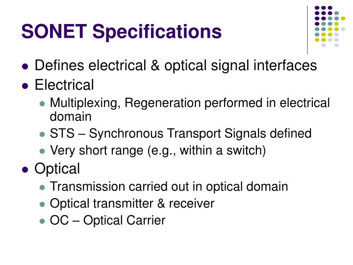 SONET Specifications