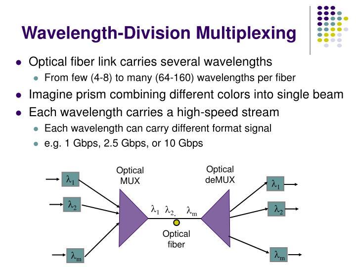Optical fiber link carries several wavelengths