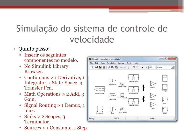 Simulação do sistema de controle de velocidade