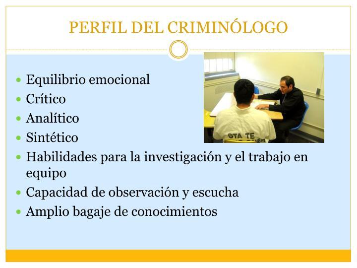 PERFIL DEL CRIMINÓLOGO