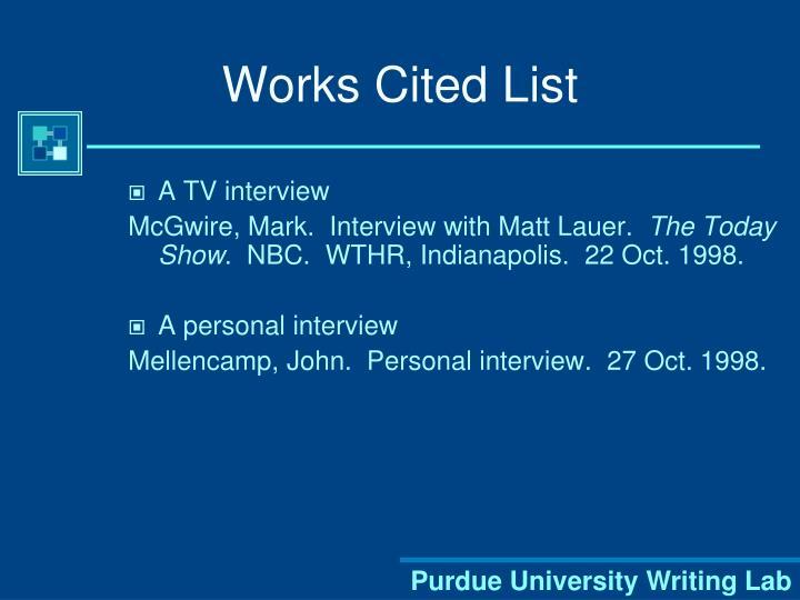 Works Cited List