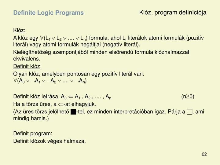 Klóz, program definíciója