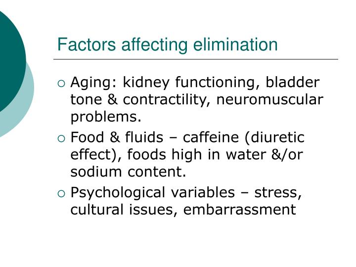 Factors affecting elimination