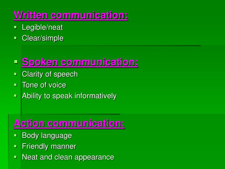 Written communication: