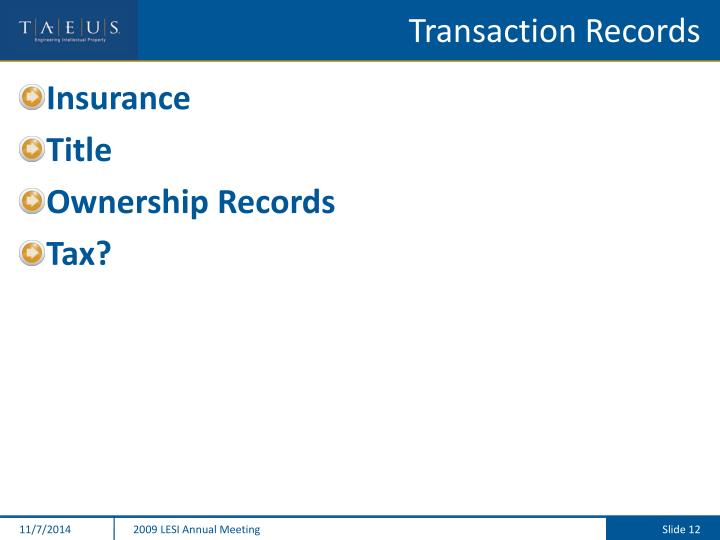 Transaction Records