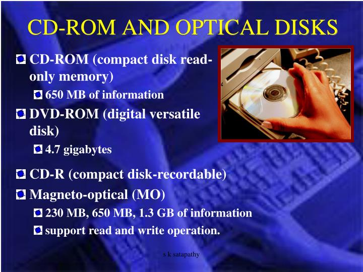 CD-ROM AND OPTICAL DISKS