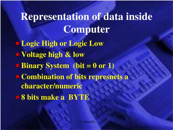 Representation of data inside Computer