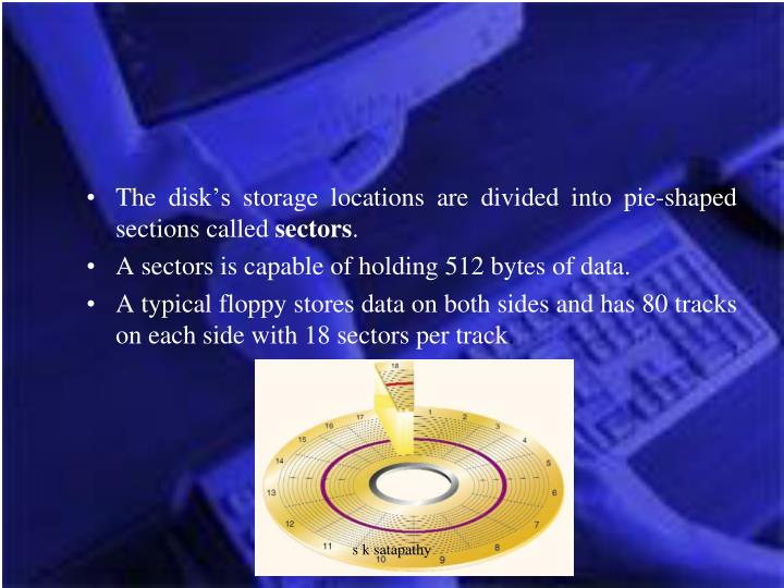 The disk's storage locations are divided into pie-shaped sections called