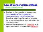 law of conservation of mass you need to remember this law
