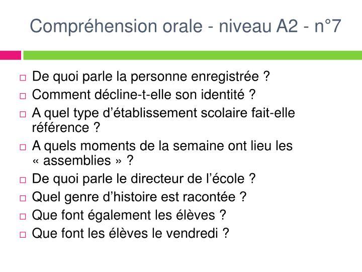 Compréhension orale - niveau A2 - n°7