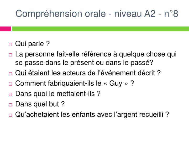 Compréhension orale - niveau A2 - n°8