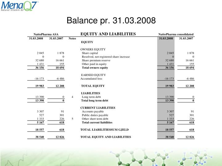 Balance pr. 31.03.2008