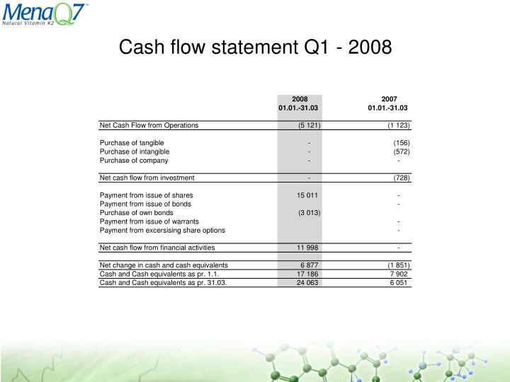 Cash flow statement Q1 - 2008