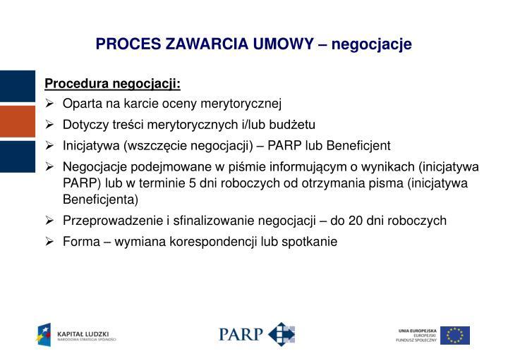 PROCES ZAWARCIA UMOWY – negocjacje