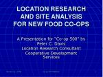 location research and site analysis for new food co ops