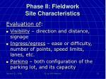 phase ii fieldwork site characteristics