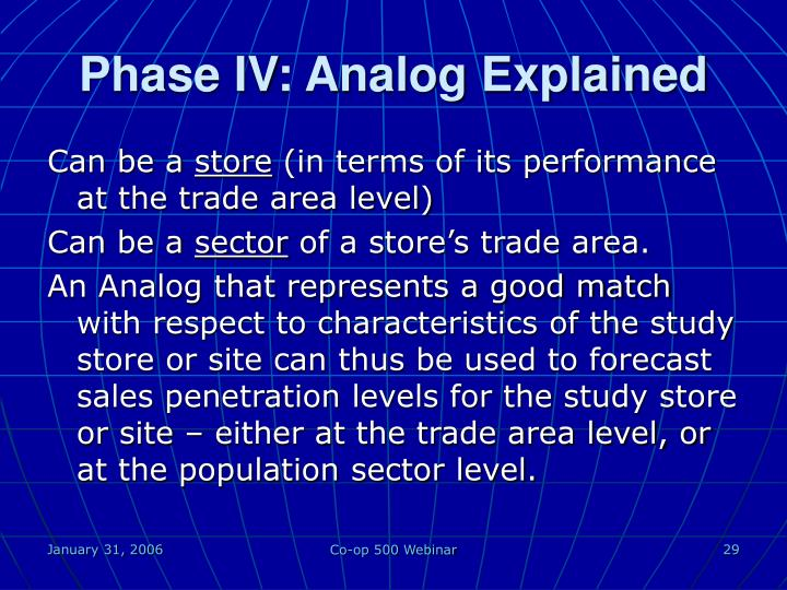 Phase IV: Analog Explained
