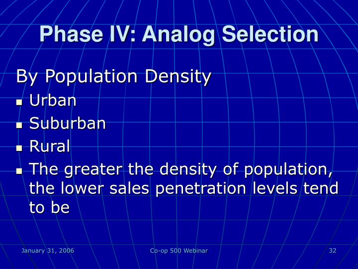 Phase IV: Analog Selection