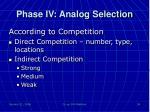 phase iv analog selection4