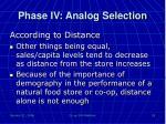 phase iv analog selection5