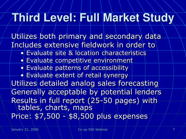 Third Level: Full Market Study