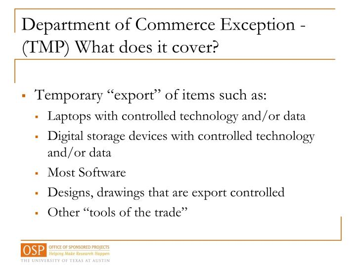 Department of Commerce Exception -
