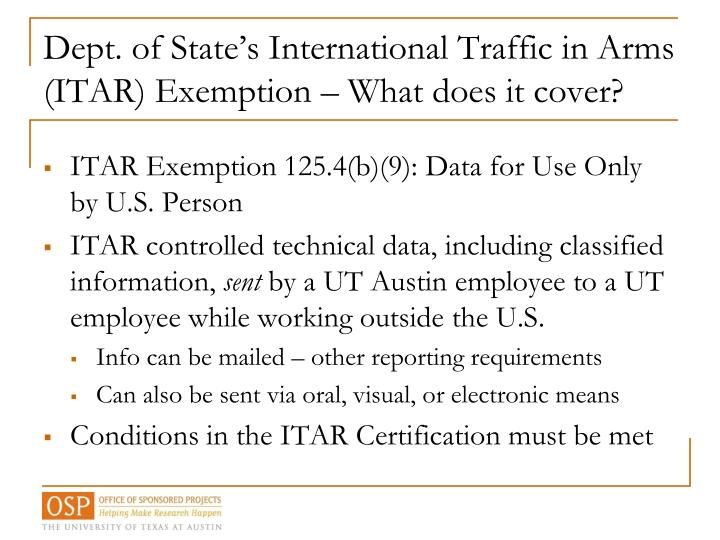 Dept. of State's International Traffic in Arms (ITAR) Exemption – What does it cover?