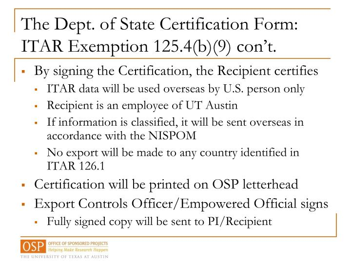 The Dept. of State Certification Form: