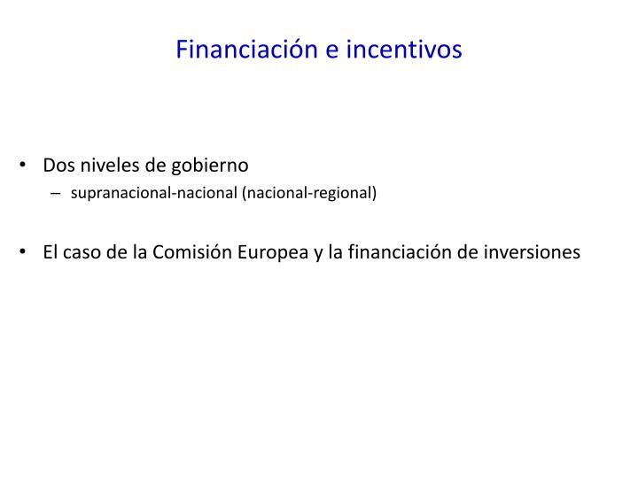 Financiación e incentivos