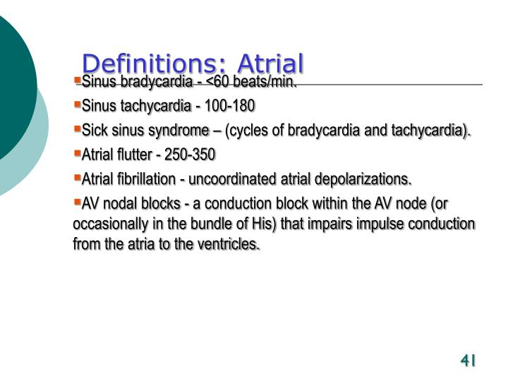 Definitions: Atrial
