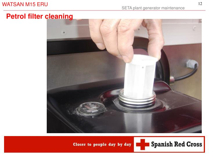 Petrol filter cleaning