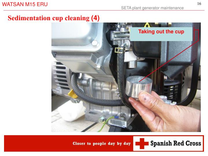 Sedimentation cup cleaning