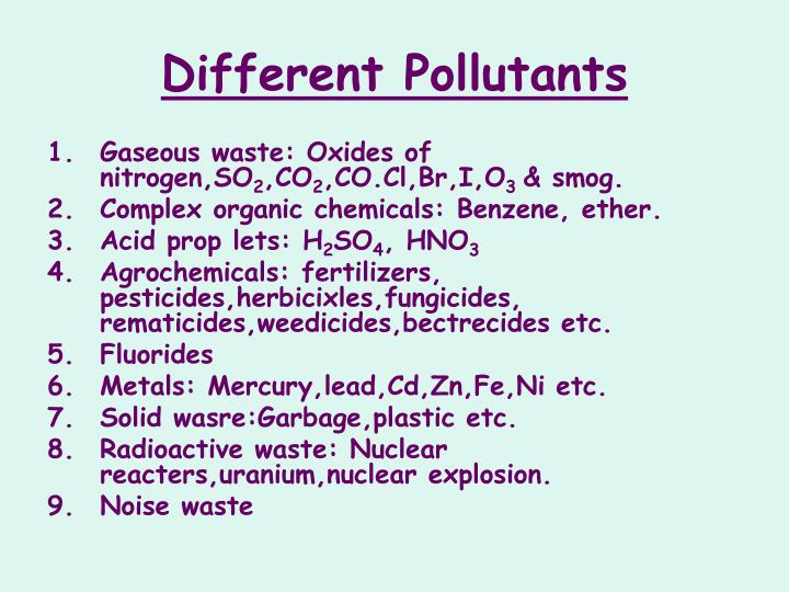 Different Pollutants