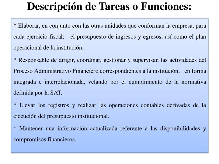 Descripción de Tareas o Funciones: