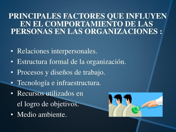 PRINCIPALES FACTORES QUE INFLUYEN EN EL COMPORTAMIENTO DE LAS PERSONAS EN LAS ORGANIZACIONES :