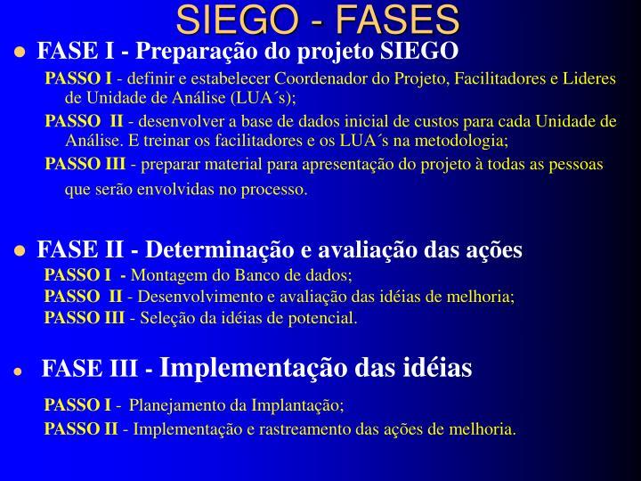 SIEGO - FASES