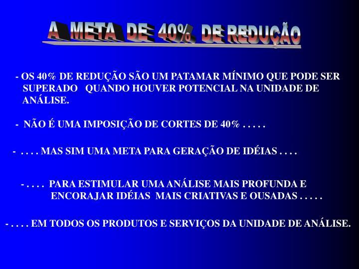 A  META  DE  40%  DE REDUÇÃO