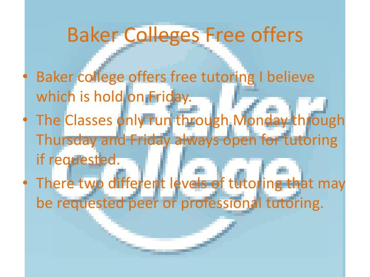 Baker Colleges Free offers