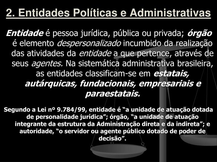 2. Entidades Políticas e Administrativas