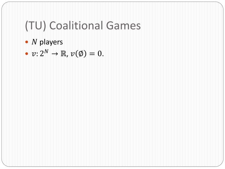Tu coalitional games