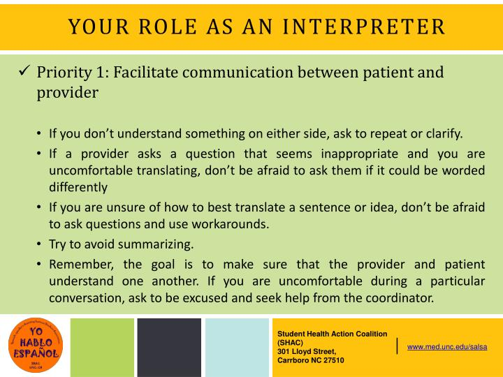 YOUR ROLE AS AN INTERPRETER