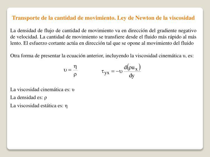Transporte de la cantidad de movimiento. Ley de Newton de la viscosidad