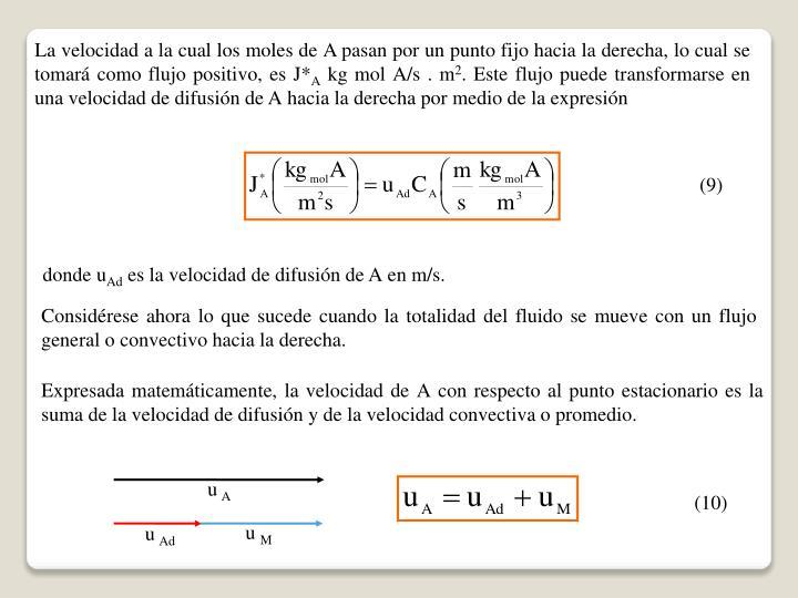 La velocidad a la cual los moles de A pasan por un punto fijo hacia la derecha, lo cual se tomará como flujo positivo, es