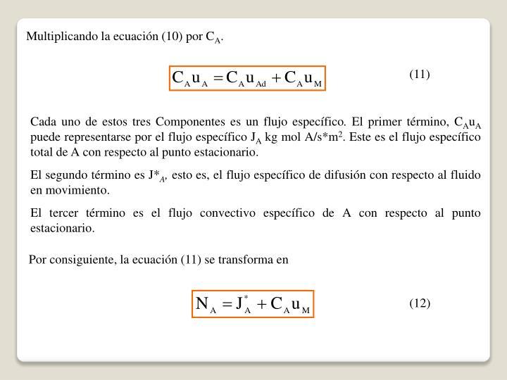 Multiplicando la ecuación (10) por C