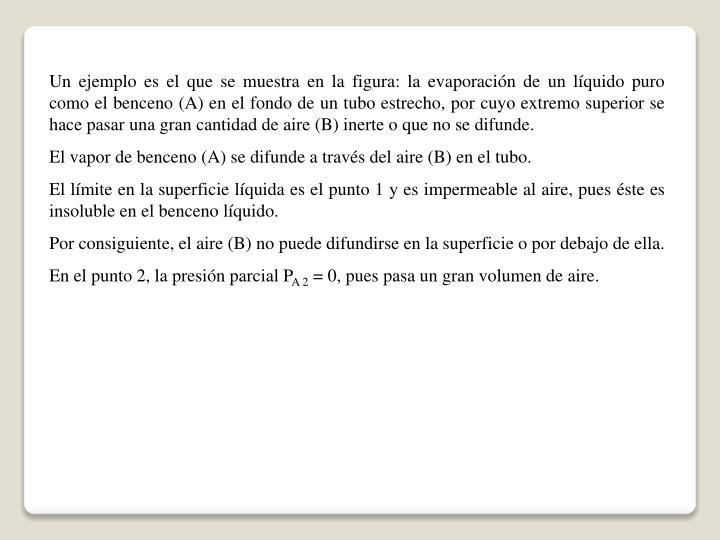 Un ejemplo es el que se muestra en la figura: la evaporación de un líquido puro como el benceno (A)